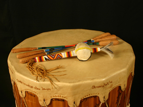 Native-American-Drum-Beater-and-Rattle-by-Jonathan-Maracle